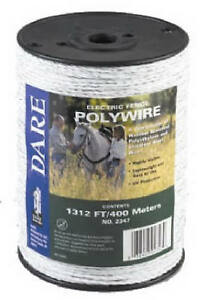 Dare Products Inc Electric Fence Wire White Poly 3 wire Stainless Steel 820