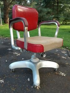 Art Deco Metal Office Chair Correct Seating Vintage Industrial