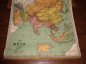 Vintage Maps 2 Antique Pull Down School Maps Asia Africa In Oak Case