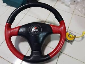 Toyota Trd Red Stitching Leather Steering Wheel W Airbag Supra Celica Mr2 Oem