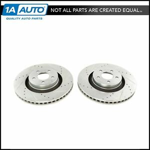 Front Disc Brake Rotor Performance Drilled Slotted Zinc Coated Pair For Mustang