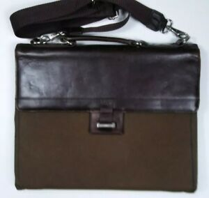 Cutter Buck Brown Leather Canvas Portfolio Shoulder Bag Mens Briefcase Usa
