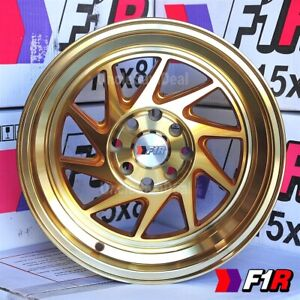 15x8 25 4x100 114 3 F1r F07 Machine Gold 2 Step Lip Blade Tuner Wheels Set Of 4