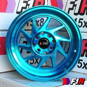 15x8 25 4x100 114 3 F1r F07 Machine Teal 2 Step Lip Blade Tuner Wheels Set Of 4