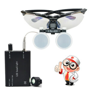 High end Dental Dentist Surgical Binocular Loupes 2 5x 420mm Led Head Light Lamp