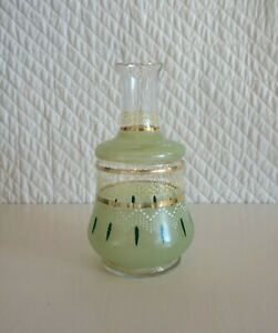Antique Green White Enamelled Victorian Glass Decanter 19cm No Stopper As Found