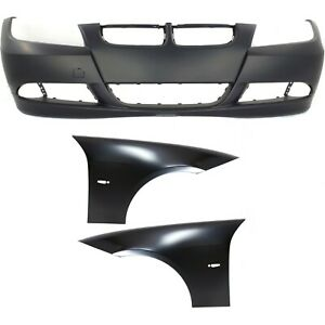 Bumper Cover Fender For 2007 2008 Bmw 328i Set Of 3 Front