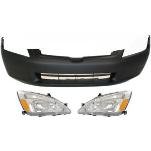 Bumper Cover Kit For 2003 2005 Honda Accord Front Sedan 3 Piece