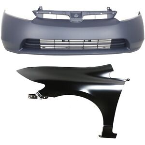 Bumper Kit For 2006 2008 Honda Civic Front 4 door Sedan 2 Piece