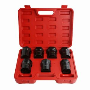 7pc Front Wheel Bearing Hex Locknut Socket Set 1 2 Drive Sae Metric B1014