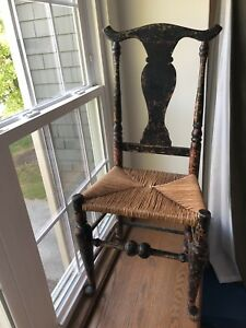 Early Primitive Chair In Black Over Red Aafa