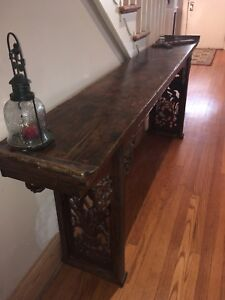 Carved Wood Sofa Hallway Entry Way Table