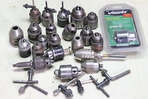 Drill Chuck And Key Lot Jacobs More 22 Chucks 1 4 3 8 1 2