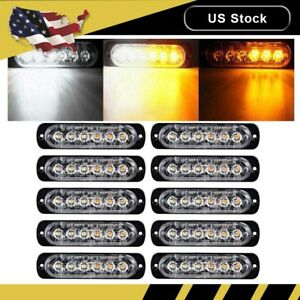 10x Amber white Car 6 Led Emergency Strobe Light Kit Flash Warning Hazard Beacon