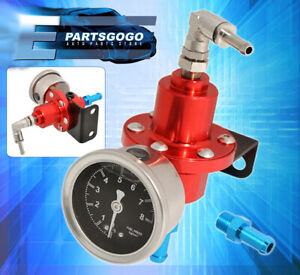 Anodized Red Fuel Pressure Regulator 0 140 Psi Light Weight With Liquid Gauge