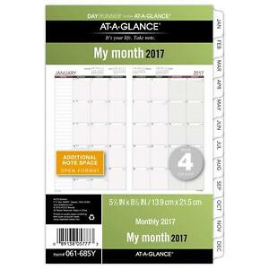 Day Runner Monthly Planner Refill 2017 Loose Leaf 5 1 2 X 8 1 2 Size 4 061