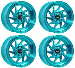 15x8 F1r F07 4x100 4x114 3 25 Machine Teal Wheels Rims Set 4