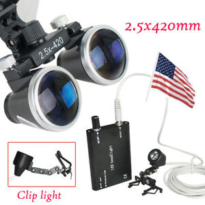 Ce Luxury Dental Surgical Binocular Loupes 2 5x 420mm Clip Led Head Light Lamp