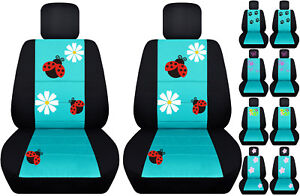 Vw Beetle Front Car Seat Covers Black tiffany Blue W daisy ladybug butterfly