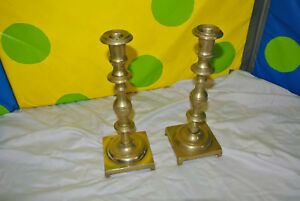 Antique 10 Brass Candlesticks From 1890 S From Russian 9 75 H Set 1 Vguc