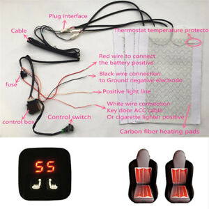 2 Seats Universal Car Carbon Fiber Heated Seat Heater Kit 5 Level Switch 12v