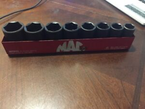 Mac Tools Usa Semi deep Impact Socket Set Sae Standard 1 9 16 Xip 6 point Tray