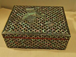 Antique Korean Lacquer Box With Mother Of Pearl Inlay Very Nice