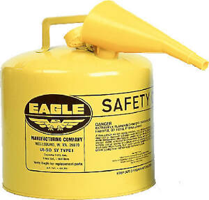 Eagle Mfg Co Safety Diesel Gas Can Yellow Type I 5 gal Ui 50 fsy