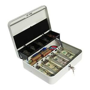 Cash Box With Money Tray Petty Cash Lock Box Includes Tiered Design With For