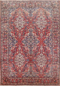 Antique Vegetable Dye Bakhtiari Persian Oriental All Over Floral Area Rug 10x14