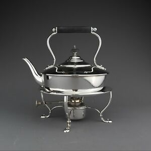 Ornate Antique Solid Sterling Silver Tea Kettle Stand London 1913 940 G