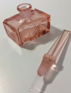 Vintage Pink Glass Perfume Bottle Stopper Dauber Unique Design Art Deco 5 25 In