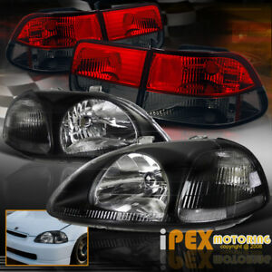 For 96 98 Honda Civic 2dr Coupe Jdm Black Headlight W Euro Red Smoke Tail Light