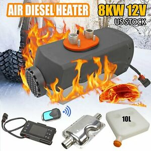 8kw 12v Diesel Air Heater Tank Lcd Thermostat Quiet For Truck Boat Car Trailer