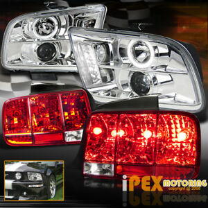 05 09 Ford Mustang Halo Projector Led Headlights Chrome Sequential Tail Light
