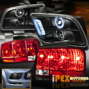 2005 09 Ford Mustang Halo Projector Black Headlights Sequential Red Tail Light