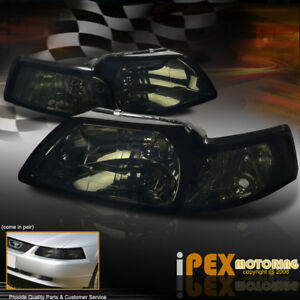 For All 1999 2004 Ford Mustang Gt Svt Cobra Smoke Blackout Headlights Headlamps