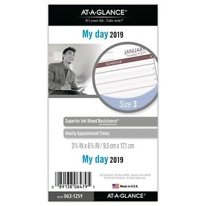 At a glance 2019 Daily Planner Refill Day Runner 3 3 4 X 6 3 4 Porta New