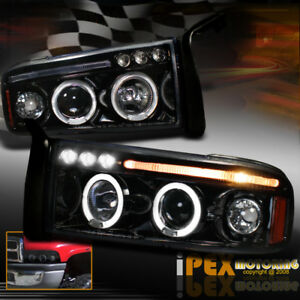 New 1994 2001 Dodge Ram 1500 2500 3500 Halo Projector Smoked Black Headlights