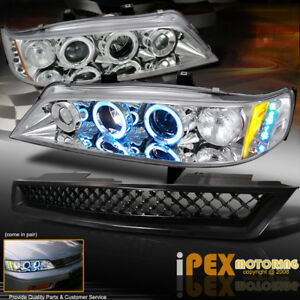 For 94 97 Honda Accord Halo Led Projector Chrome Headlights Black Mesh Grill
