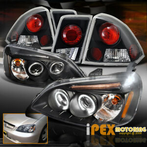 For 01 02 03 Honda Civic 4dr Halo Projector Led Black Head Light W Tail Lamp