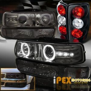 00 06 Tahoe Suburban Smoke Led Projector Head Lights Bumper Black Tail Lamps