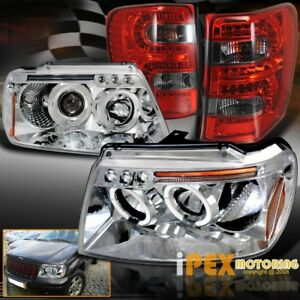 Jeep 1999 2004 Grand Cherokee Halo Projector Headlights red Smoke Led Tail Light