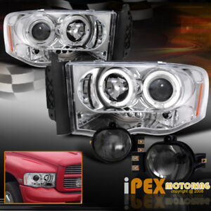 For 2002 2005 Dodge Ram Halo Projector Led Chrome Headlights Smoke Fog Light