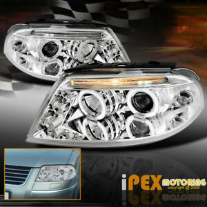 Volkswagen Vw 2001 2005 Passat B5 5 Twin Halo Projector Led Headlights Chrome