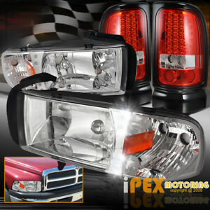 1994 2001 Dodge Ram Led Chrome Headlight Euro Style Led Tail Brake Lights