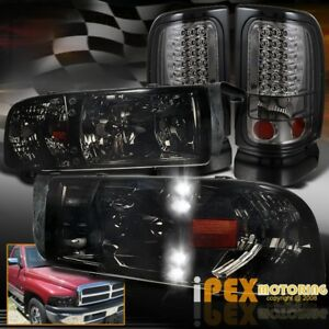 94 01 Dodge Ram 1500 2500 Shiny Smoke Led Drl Headlights Led Smoked Tail Light