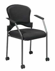 Office Star Padded Coal Freeflex Mesh Seat Visitors Chair With Armrests