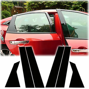 For Honda Civic 10th 16 20 Glossy Black Door Window Pillar Posts Cover Trim New