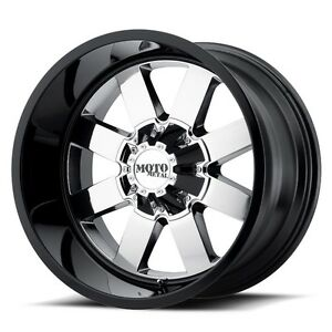 20 Black Chrome Wheels Rims Lifted Dodge Ram 2500 3500 Truck Moto Metal 20x12